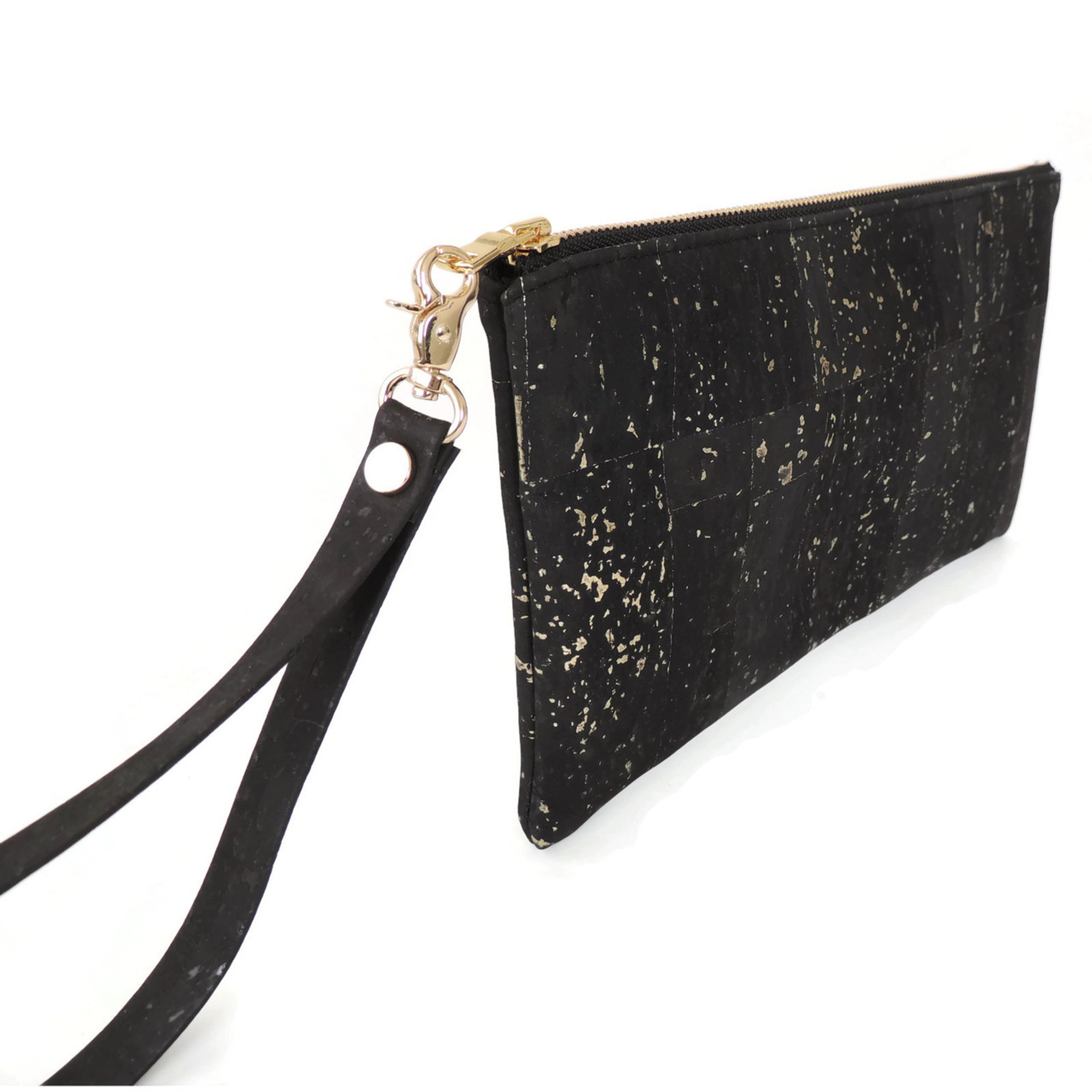 Wristlet in Black and Gold Cork