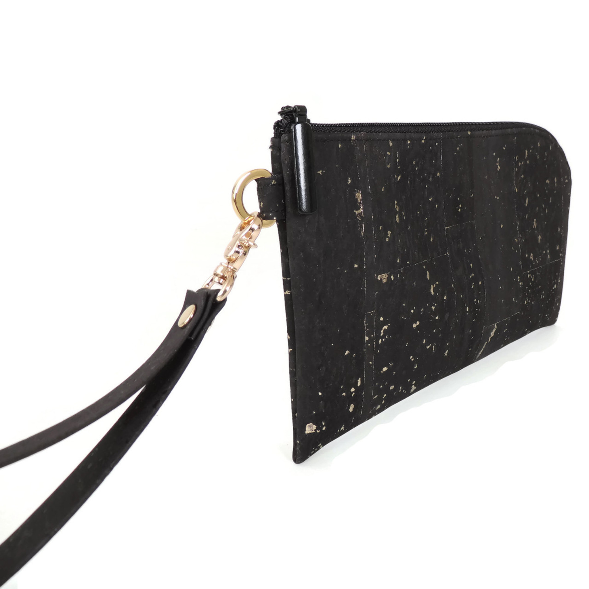 Phone Wristlet in Black and Gold Cork