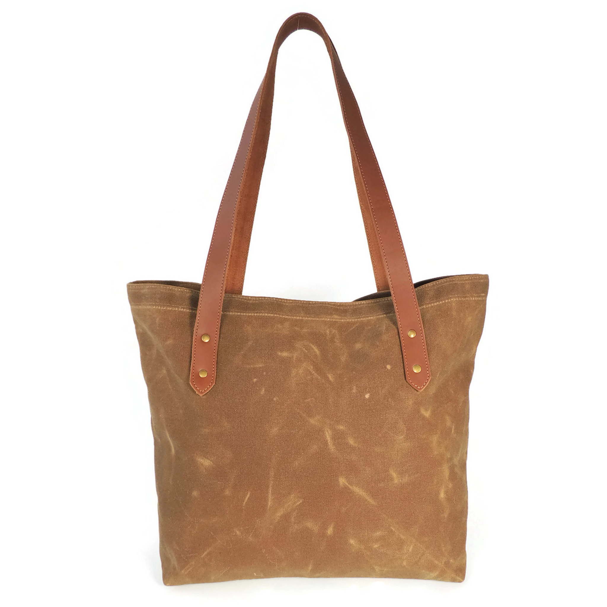 Waxed Brown Canvas Market Tote with Pocket