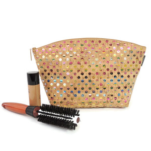 Extra Large Standing Pouch in Sequin Cork