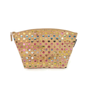 Large Standing Pouch in Sequin Cork
