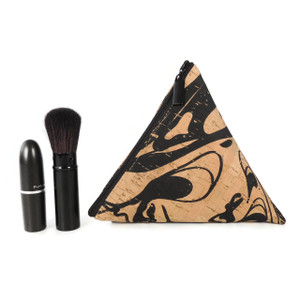 Triangle Pouch in Black Ink Cork