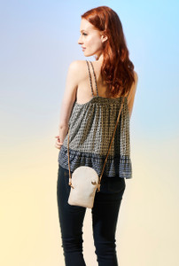 Phone Crossbody in Black Ink Cork