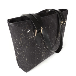 Boot Tote in Black and Gold Cork