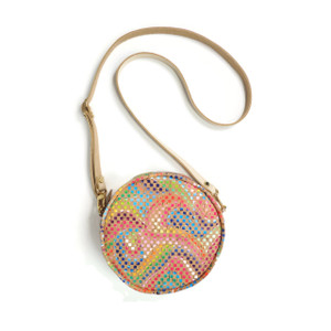 Mini Circle Purse in Mosaic Cork