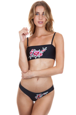 FRANKIES BIKINIS Liv Top in Black Embroidery