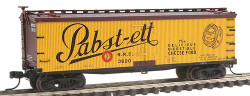 Atlas N Scale 40' Wood Reefer, Pabst-ett NRC #3600 (yellow, brown, black) No Insert Label