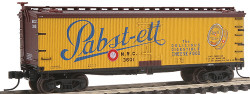 Atlas N Scale 40' Wood Reefer, Pabst-ett NRC #3601 (yellow, brown, black) No Insert Label