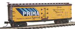 Atlas N Scale 40' Wood Reefer, Prima #12819 (yellow, brown, black, blue) No Insert Label