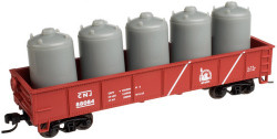 Atlas Trainman N Scale Ready to Run, 42' Steel Gondola w/Cement Container Load, Central Railroad of New Jersey #88086 (Boxcar Red, white Stripes, Liberty Logo)