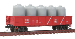 Atlas Trainman N Scale Ready to Run, 42' Steel Gondola w/Cement Container Load, Central Railroad of New Jersey #88089 (Boxcar Red, white Stripes, Liberty Logo)