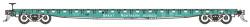 BLMA N Scale Ready to Run , GSC 60' Flatcar, Great Northern #160007 (Jade Green, white)