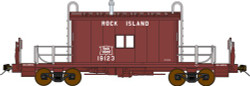 Bluford Shops N Scale BLU25021 Ready to Run Steel Transfer Caboose w/Running Board,  Rock Island  RI #19123