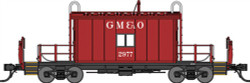 Bluford Shops N Scale BLU25071 Ready to Run Steel Transfer Caboose, Short Body,Gulf Mobile & Ohio #2977 (red, white)