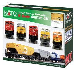 """Kato N 106-0020 Ready to Run GE ES44AC """"Gevo"""" and Mixed Freight Starter Set - Canadian National"""