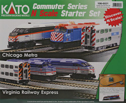 Kato N Scale Commuter Series Metra Starter Set, complete with Metra MPI MP36 Diesel Locomotive & 3 Commuter Cars, Unitrak M1 Basic Oval (4.1/2ft x 2ft) & Kato Power Pack