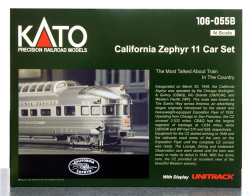 Kato N Scale California Zephyr 11 Car Passenger Set with display track