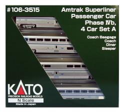 Kato N Scale RTR Superliner Amtrak Phase IVb 4-Car Set A