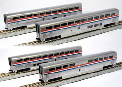Kato N Scale RTR Superliner Passenger Car, 4-Car Set A, Amtrak Phase III, Coach 34037, Coach-Baggage 31024, Diner 33022, Sleeper 32022