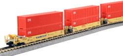 "Kato N Scale Gunderson MAXI-l Double Stack Well Cars, TTX ""New Logo"" - 5-Unit Well Car includes 10 x CAI 40' Containers"