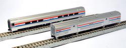 Kato N 1066292 Budd Amfleet II 2-Car Set B Baggage & Coach-Cafe Amtrak Phase lll  #1221 &  #28015