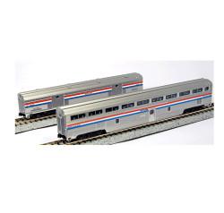 Kato N 106-7122 2 Car Set Step Down Coach and Baggage Car Amtrak Phase III