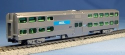 Kato N Scale Ready to Run Nippon Sharyo Gallery Bi-Level Coach, Chicago Metra #6185