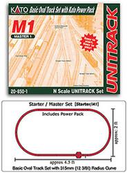 "Kato N Scale Unitrack(R) Master Set M1 Basic Oval (12.3/8"" Radius) complete with Kato Power Pack"