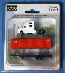 Kato N 31615 RTR White Volvo Highway Tractor Trailer and Chassis w/CAI Container