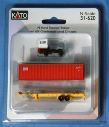 Kato N Scale White Yard Tractor & Chassis w/ 40' CAI Container