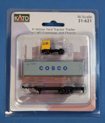 Kato N Scale Yellow Yard Tractor & Chassis w/ 40' COSCO Container