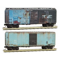 Micro Trains Line 020 44 696 Boston & Maine 40' Boxcars - Weathered 2 - Pack