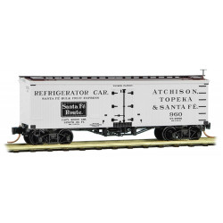 Micro Trains Line 058 00 380 36' Wood Sheathed Ice Reefer w/ Truss Rods ATSF #960