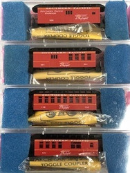 Roundhouse Products 34' Old Time Overton Passenger Cars SP Daylight Colors- 4 Car Set - Kit