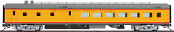 Walthers HO Scale RTR CNW/UP City Streamliner Pool Car ACF 85' 48 seat Diner (Amour Yellow,Gray,Red)