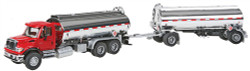 Walthers SceneMaster HO Scale Assembled, International(R) 7600 Tank Truck w/Trailer ,Red Cab, Chrome Tanks