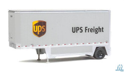 Walthers Scene Master WAL9492551 HO Scale Ready to Run 26' Drop-Floor Trailer 2-Pack Assembled United Parcel Service (Modern Shield Logo, gray, brown, yellow)