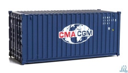 Walthers Scene Master HO 949-8070 Ready to Run  20' Corrugated Container - Assembled -- CMA-CGM (blue, white, red)