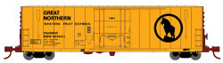 Wheels of Time N Scale, PC&F 50' 70-Ton RBL Insulated Double Plug-Door Boxcar  w/10' Superior Door, Western Fruit Express/GN RBWX #64532 (yellow, Boxcar Red, black, Large Logo)