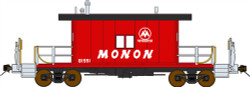 Bluford Shops HO Scale BLU33021 Ready to Run Steel Transfer Caboose-Long Roof,Monon #81552