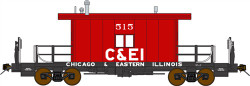 Bluford Shops HO Scale BLU33051 Ready to Run Steel Transfer Caboose-Long Roof,Chicago & Eastern Illinois #520