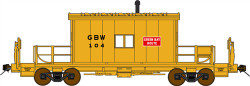 Bluford Shops HO Scale BLU33061 Ready to Run Steel Transfer Caboose-Long Roof,Green Bay & Western #104 (yellow, red)