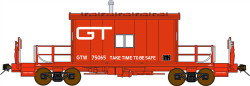 Bluford Shops HO Scale BLU34031 Ready to Run Steel Transfer Caboose-Long Roof,Grand Trunk Western #75065 (red, white, Take Time To Be Safe Slogan)