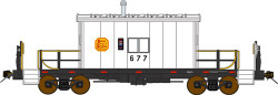 Bluford Shops HO Scale BLU34050 Ready to Run Steel Transfer Caboose-Long Roof,Kansas City Southern #677 (white, black, yellow, red Conspicuity Marks)