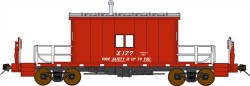 "Bluford Shops HO Scale BLU34060 Ready to Run Steel Transfer Caboose-Long Roof,Great Northern #X177 (red, silver; ""Your Safety is Up To You"" Slogan)"