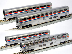 Kato N 1063518 Scale RTR Superliner Passenger Car, 4-Car Set B, Amtrak Phase III, Coach 34037, Coach-Baggage 31024, Diner 33022, Sleeper 32022