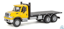 Walthers SceneMaster HO 949-11653 International 7600 3 - Axle Flatbed Truck - Yellow Cab w/Black Flatbed
