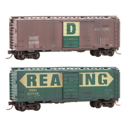 Micro Trains Line 020 44 167 40' Standard Single Door Box Cars - Weathered - Reading RDG #109019 & 109118 - 2 Pack
