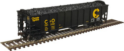Atlas Trainman HO 20004896 AAR 70 Ton 9-Panel 3-Bay Open Hopper (Arched End) 3-Pack Chessie System C&O #150206, 150897, 151330