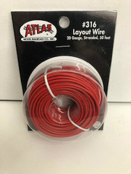 Atlas N/HO #316 Layout Wire 20 Gauge Stranded 50 feet Red